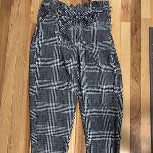 Paper bag waist plaid pants
